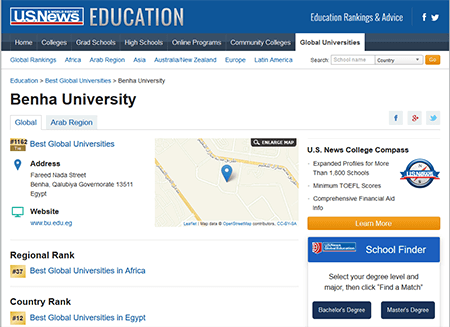 جامعة بنها ضمن أفضل ١٥٠٠ جامعة عالمياً فى تصنيف يو اس نيوز الأمريكي ٢٠٢٠