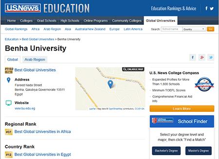Benha University is among 1500 Global Universities in the American Ranking US News 2020